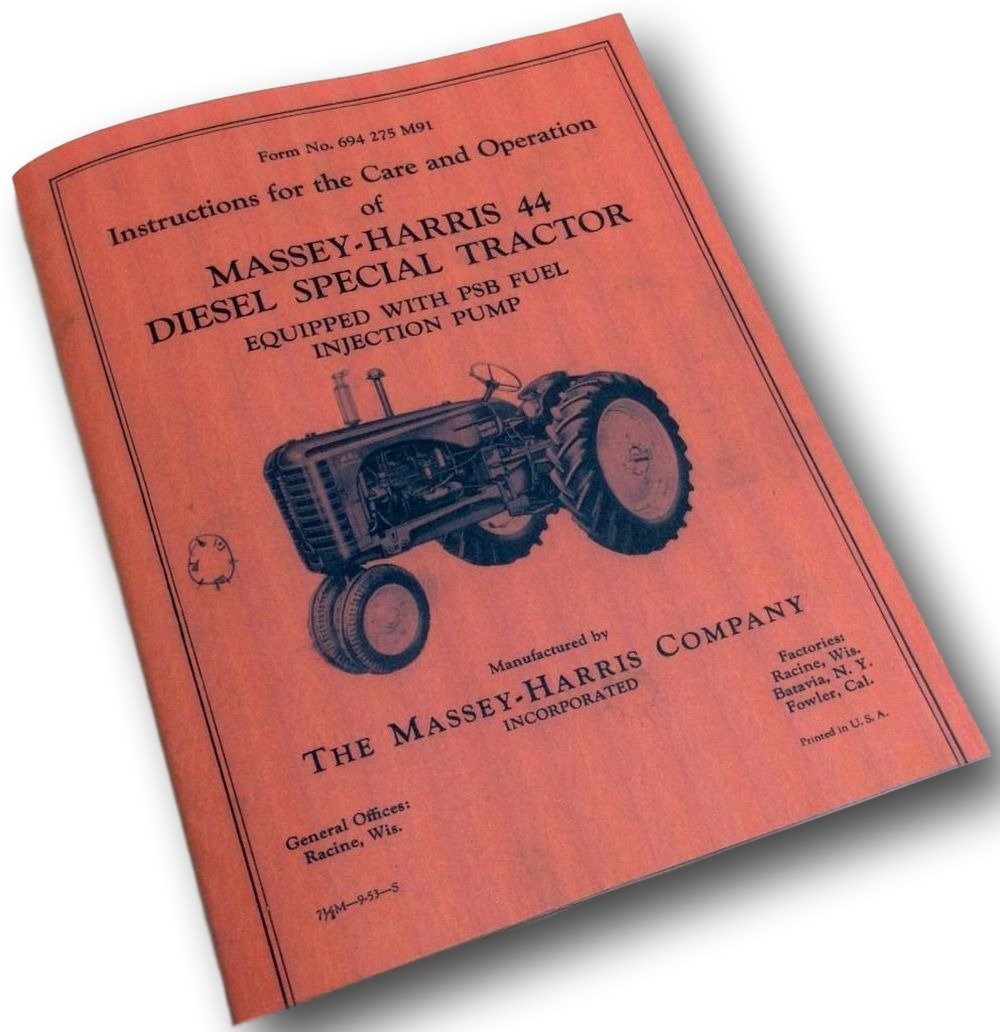 Amazon.com: Massey Harris 44 Diesel Special Tractor Care Operators Owners Manual  44D: Industrial & Scientific