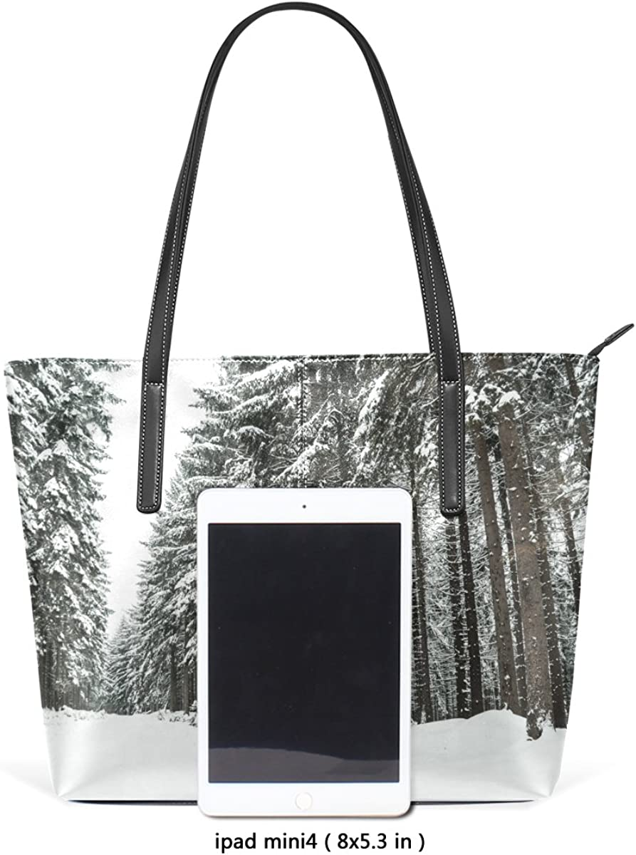 Winter Tree Snow Leather Handbags Purses Shoulder Tote Bags Satchel Womens