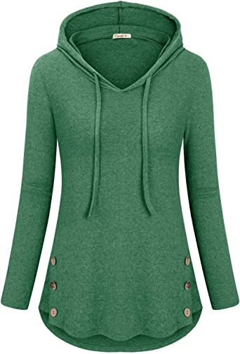 Cyanstyle Womens Color Block V Neck Tunic Hoodie Casual Pullover Tops Long Sleeve Sweatshirt