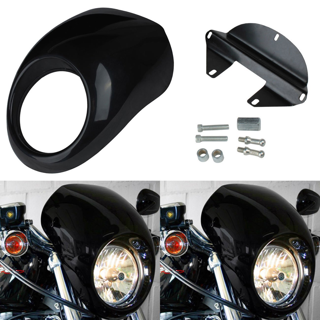 Ridgeyard Headlight Fairing Cowl Mask Visor Cover for FX XL Harley