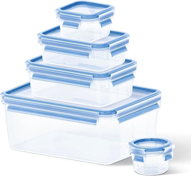 Tefal K30290 Caja Azul, Transparente 5pieza(s) Recipiente de almacenar Comida - Recipiente para Alimentos (952 g, 1 kg, 5 Pieza(s))