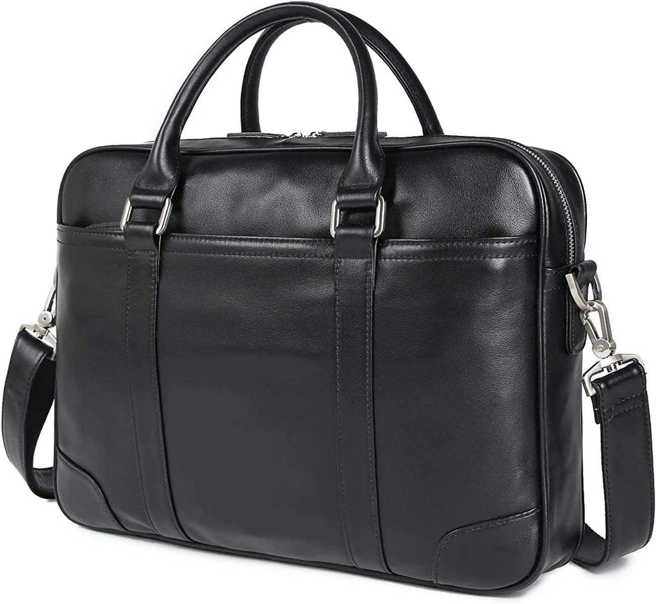 """Texbo Men's Solid Large Full Grain Cowhide Leather Vintage 15.6""""&17.3"""" Laptop Briefcase for Business Travel"""