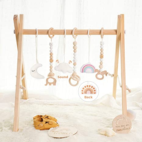 little dove Wooden Baby Gym with 6 Toys Foldable Play Gym Frame Activity Gym Hanging Bar Baby Toy White