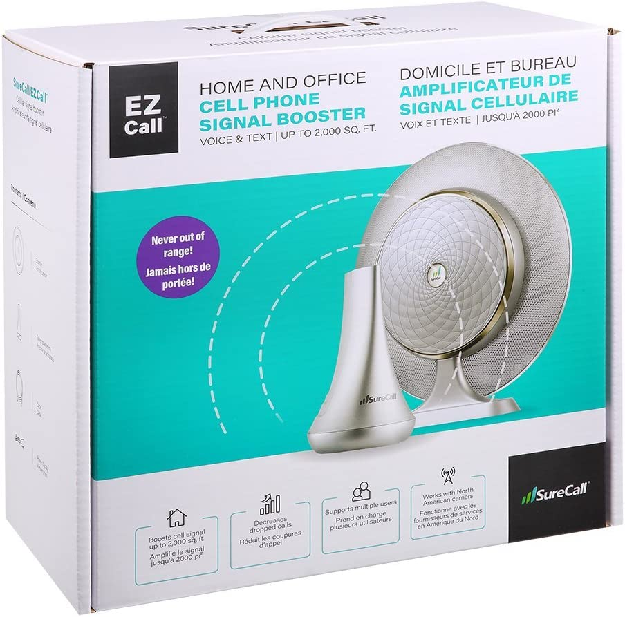 SureCall EZ Call Plug-and-Play Dual Band Cell Phone Signal Booster Kit for All Carriers