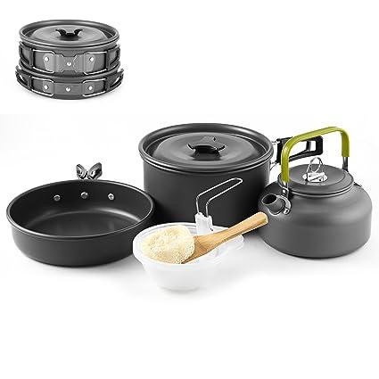 Greenskon Utensilios Cocina Camping, 2-3 Acero Inoxidable Utensilios de Cocina Ollas Sartén Acampar 10 Set Utensilios de Cocina para el Campamento ...