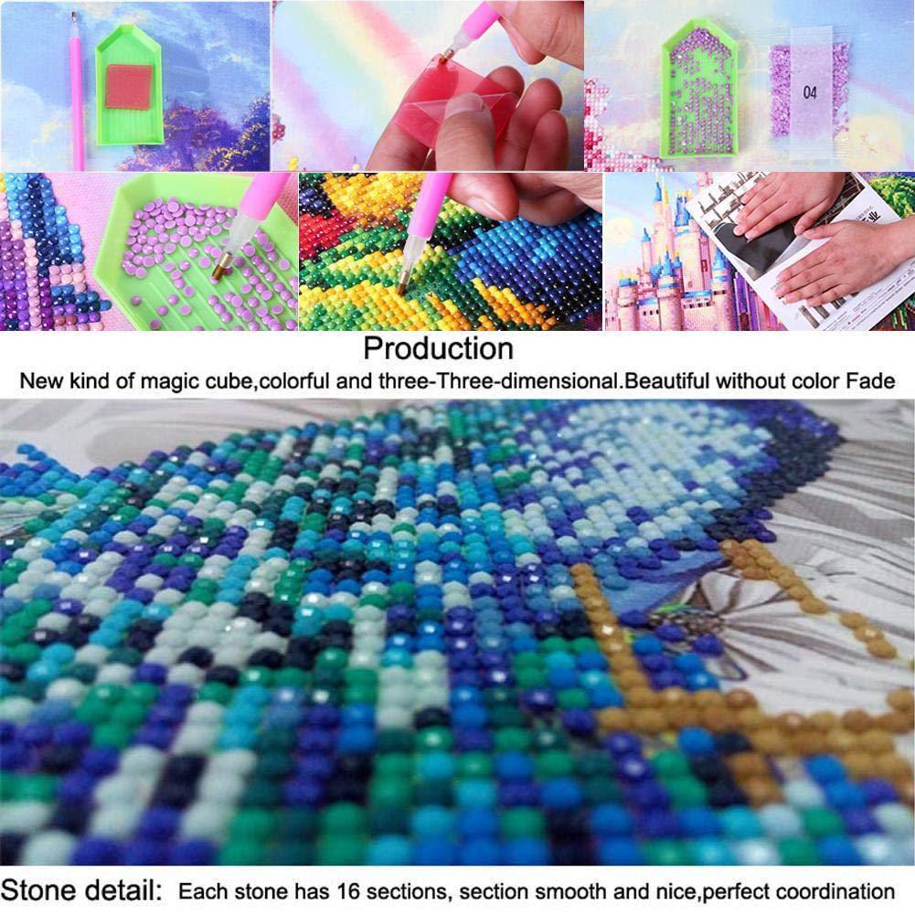 REFURBISHHOUSE Plein 5D DIY Diamant Peinture Point De Croix Perroquet 3D Diamant Broderie Strass Mosa/ïque D/écor Peintures