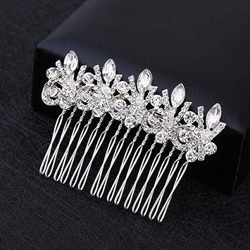 Silver Rhinestone Flower Pearls Hair Clip Pins Comb Bride Wedding Party Fashion
