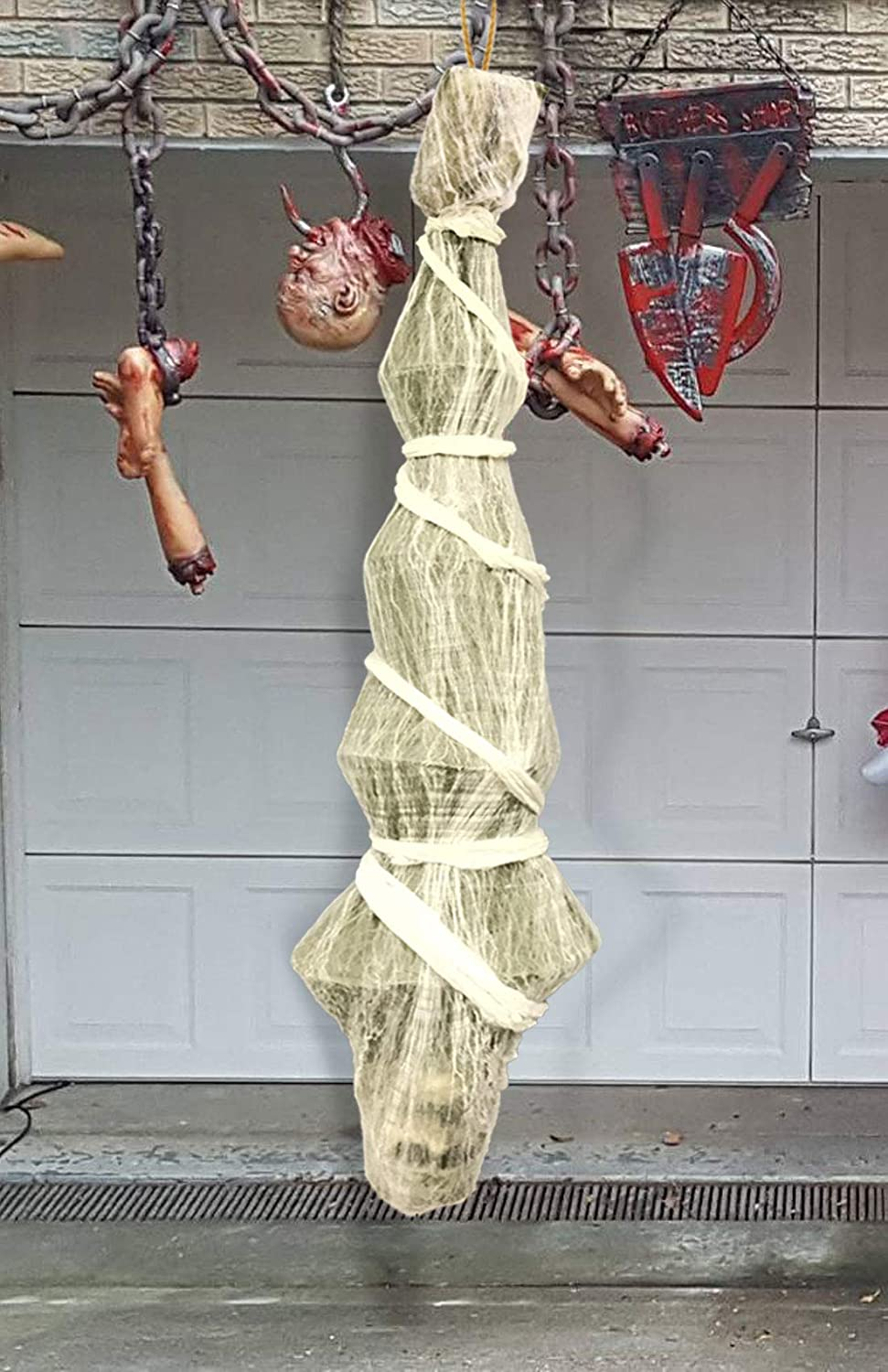 Hanging Corpses Props Scary Skeleton Body Inside Spider Web Halloween Yard