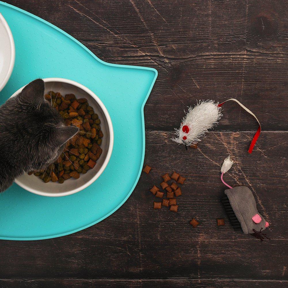 Kitygo Premium Cat Food Mat | Anti-Slip FDA Grade Silicone with High Edge (Aruba)