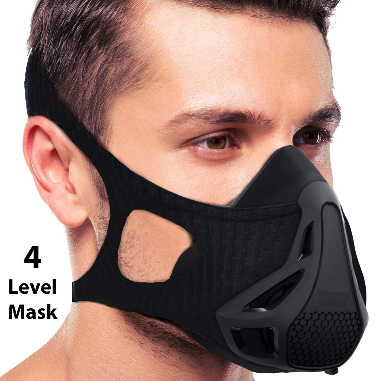16 Levels Workout Mask | Sports Running Mask Training Workout Mask Jogging Fitness Increase Breathing Elevation Exercise Air High Altitude Oxygen Resistance Endurance Biking Run Face Men Women (III)