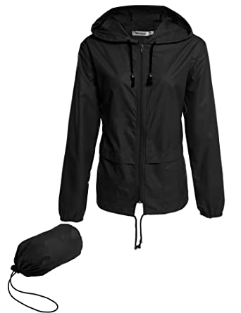 Meaneor Womens Rainwear Active Outdoor Hooded Cycling Packable and  Lightweight Jacket 61645f83b