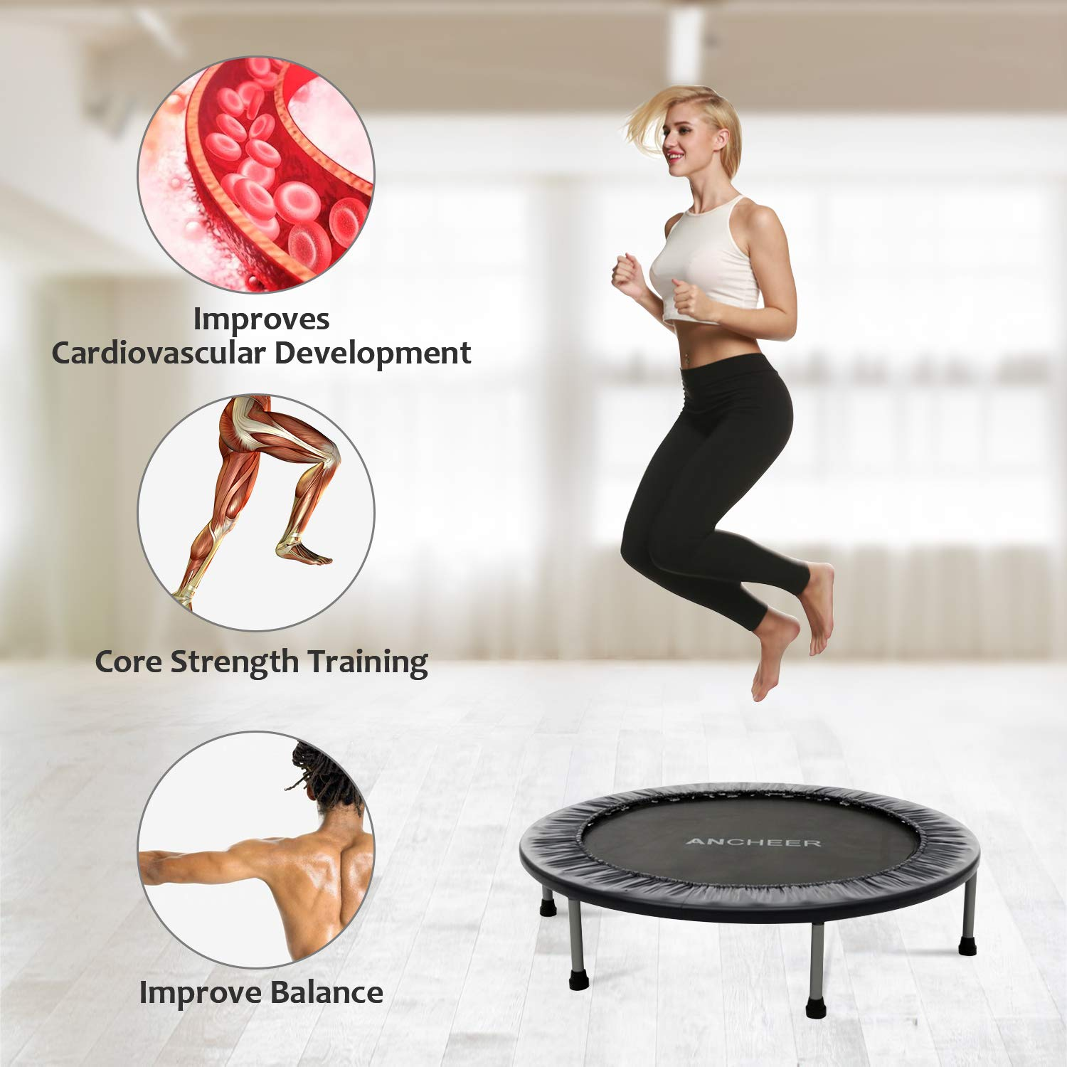 ANCHEER Mini Trampoline with Safety Pad, 220lbs Weight Capacity Fitness Rebounder Trampolines for Home Gym Office Garden Workout Cardio Training Equipment (Black, 40inch-Folding one time) by ANCHEER (Image #5)