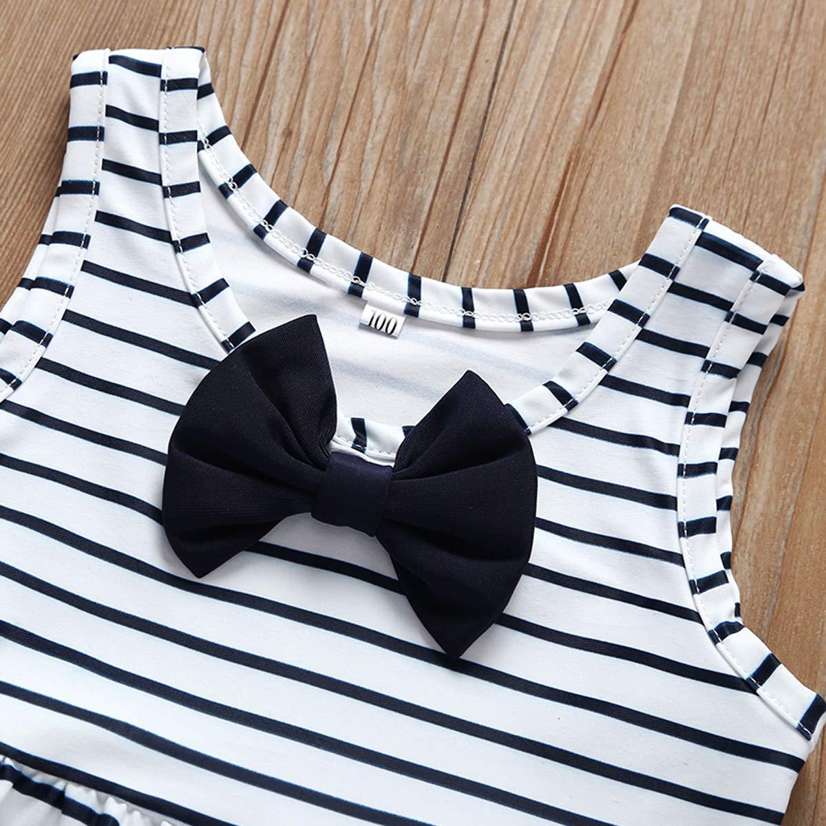 Baby Girl Bikini Striped Beach Swimsuit Ruffles Bathing Suit Adjustable Swimwear 2 Pcs Set