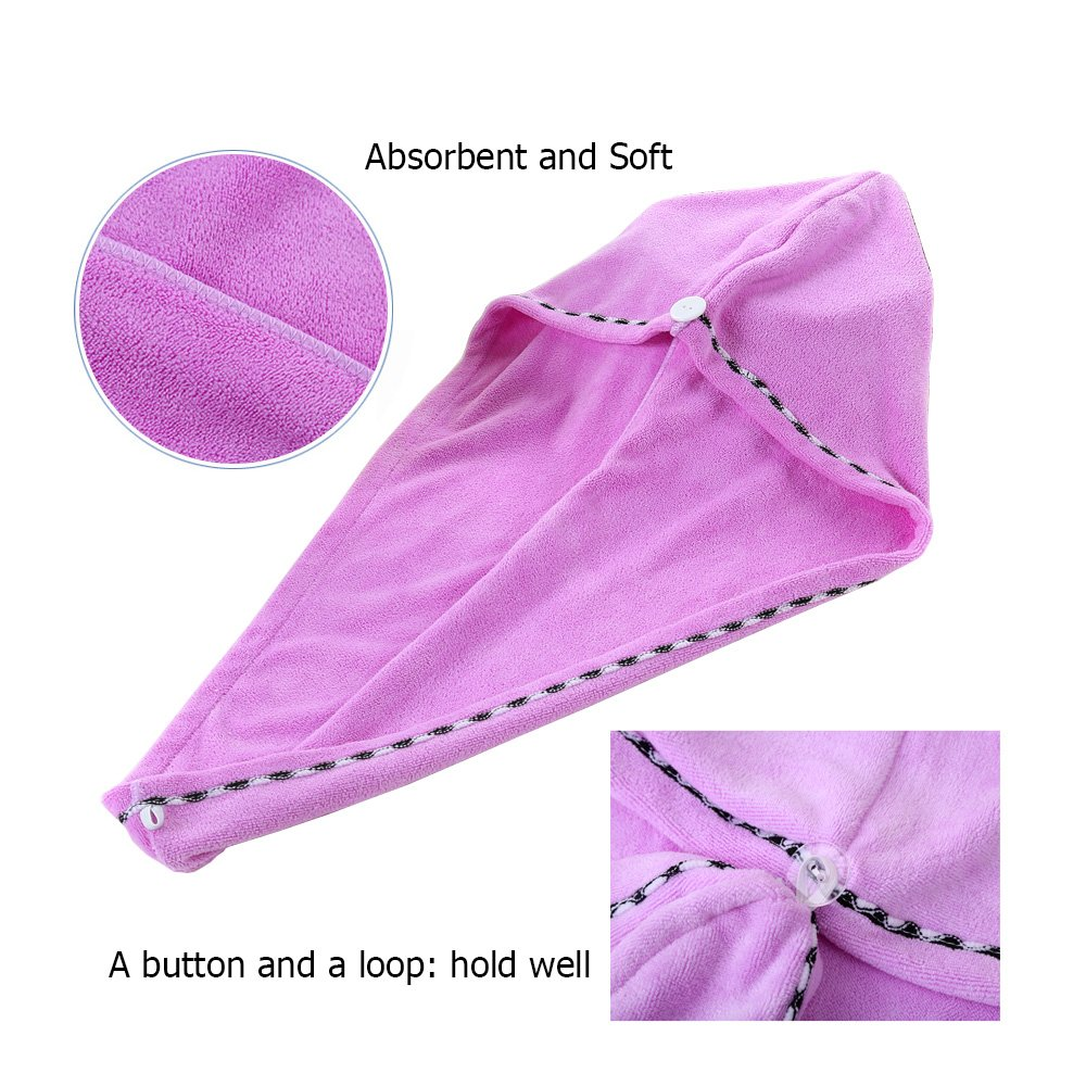 3 Pack Microfiber Hair Towel Wrap BEoffer Super Absorbent Twist Turban Fast Drying Hair Caps with Buttons Bath Loop Fasten Salon Dry Hair Hat Pink Blue Purple by BEoffer (Image #2)