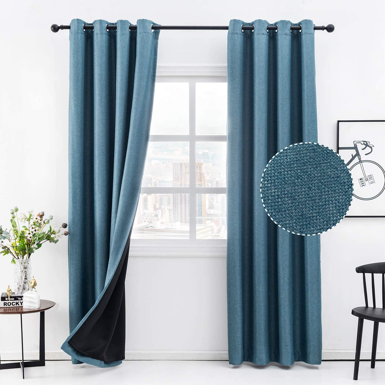 Anjee Linen Curtain for Bedroom 63 Inches 100% Blackout Curtain Total Room Darkening Blue Window Curtain Noise Reducing Thermal Insulated Drapes Grommet Panels Home Decor Gifts,Blue 52x63 Inches