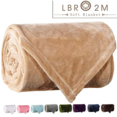 LBRO2M Fleece Bed Blanket King Size Super Soft Warm Fuzzy Velvet Plush Throw Lightweight Cozy Couch Blankets (90x104 Inch) Cream