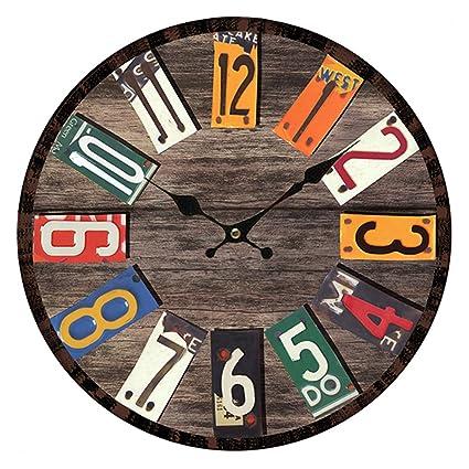 Reloj de Pared Vintage, CT-Tribe 34cm Retro reloj de pared silencioso Números arábigos
