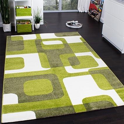 paco home  Paco Home Tappeto Di Design Moderno Su Quadri Retro Verde Muschio ...