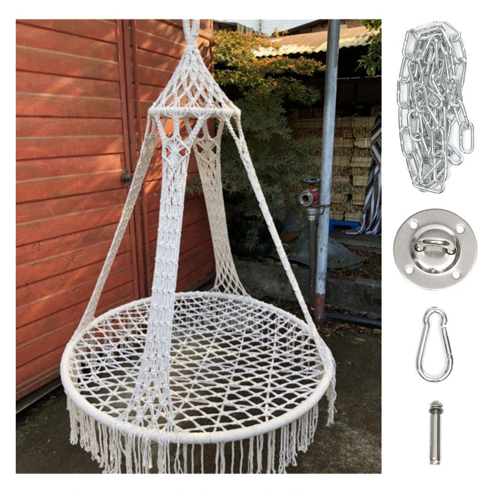 BABYDXY Hammock Chair Macrame Swing, Hanging Rope Chair Cotton Fabric for Indoor & Outdoor Home Garden Patio Balcony and More - with Hanging Kits