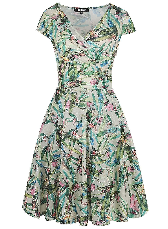 Women s A Line Casual Dresses Criss-Cross Necklines V Neck Floral Print Tea  Swing Dress BK368 at Amazon Women s Clothing store  c3d565f85c