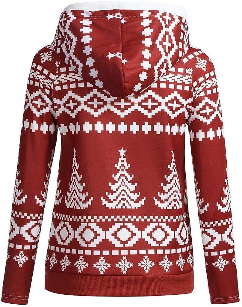 STORTO Christmas Women Retro Snowflake Print Hooded Sweatshirt Cowl Zipper Pullover Tops