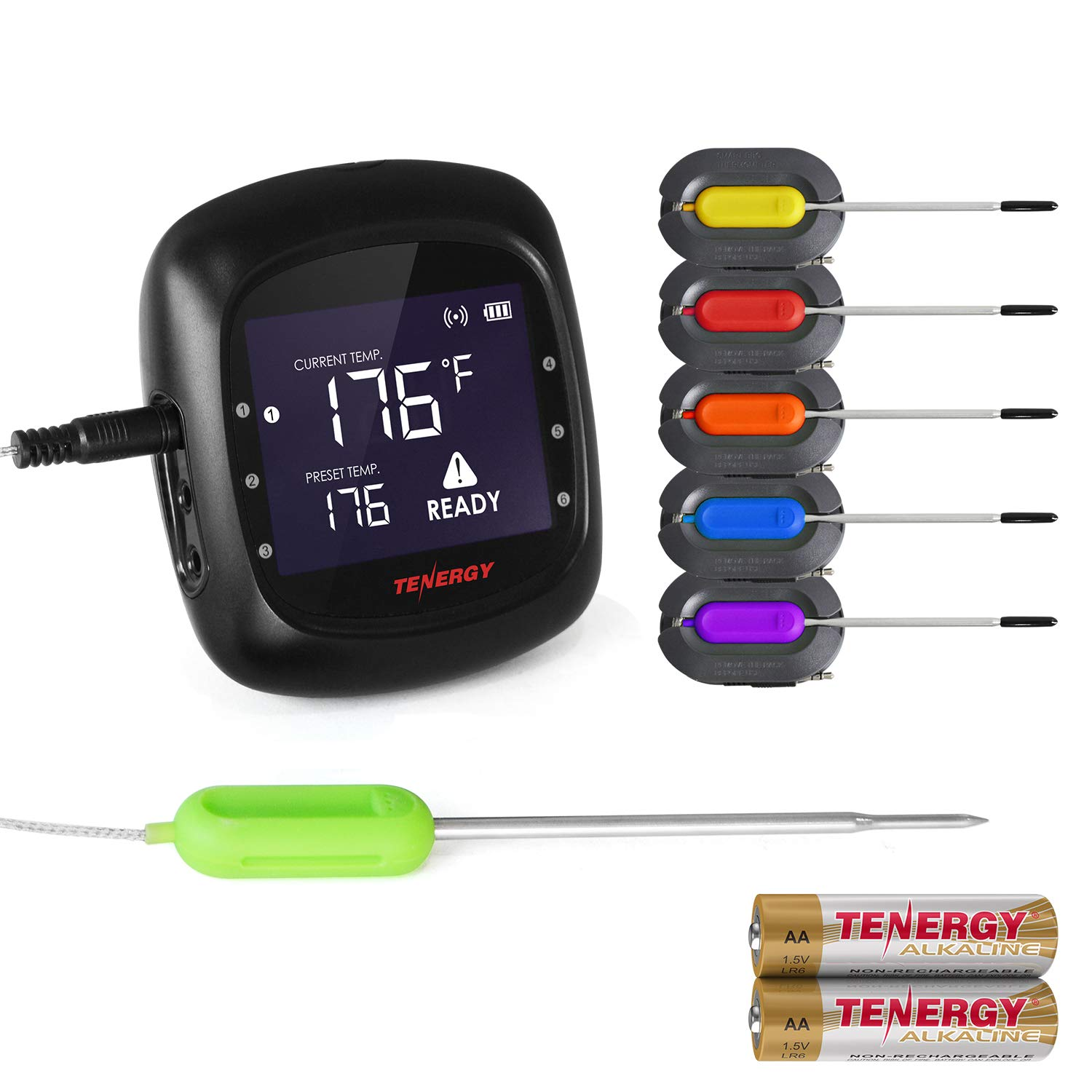 Tenergy Solis Digital Meat Thermometer, APP Controlled Wireless Bluetooth Smart BBQ Thermometer w/ 6 Stainless Steel Probes, Large LCD Display, Carrying Case, Cooking Thermometer for Grill & Smoker by Tenergy
