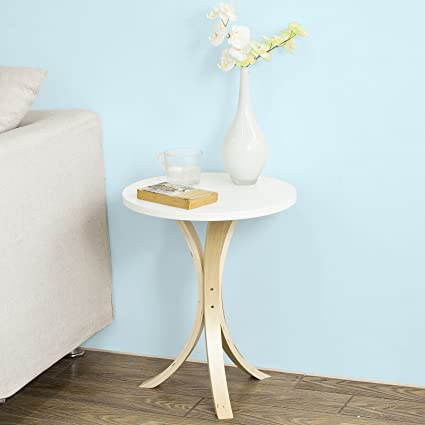 Amazoncom Sobuy Round Wooden Sofa Side Table End Tableconsole