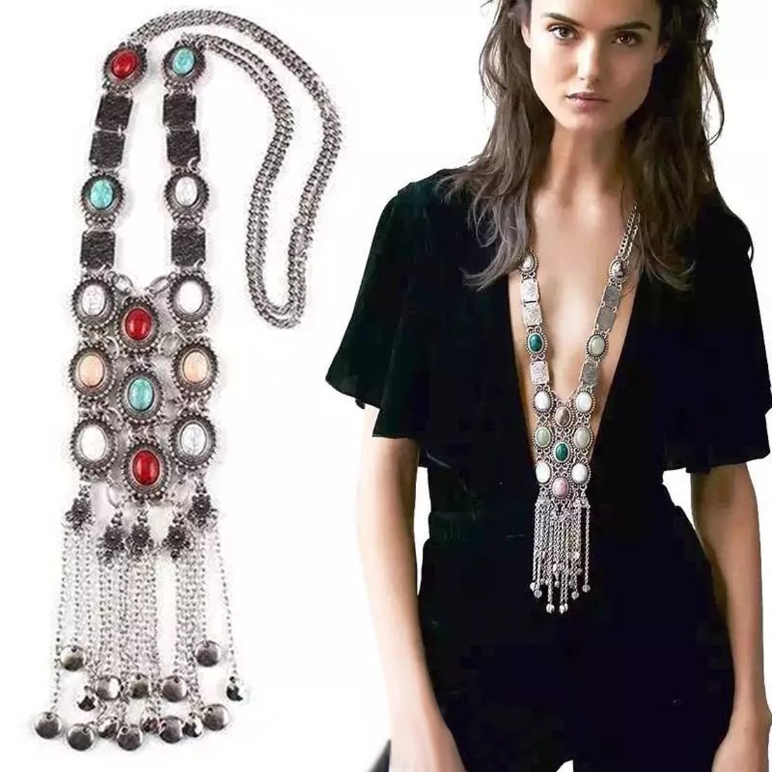 Tpocean Vintage Retro Rhinestone Silver Gold Turquoise Long Boho Bohemian Statement Ethnic Tribal Necklace for Women