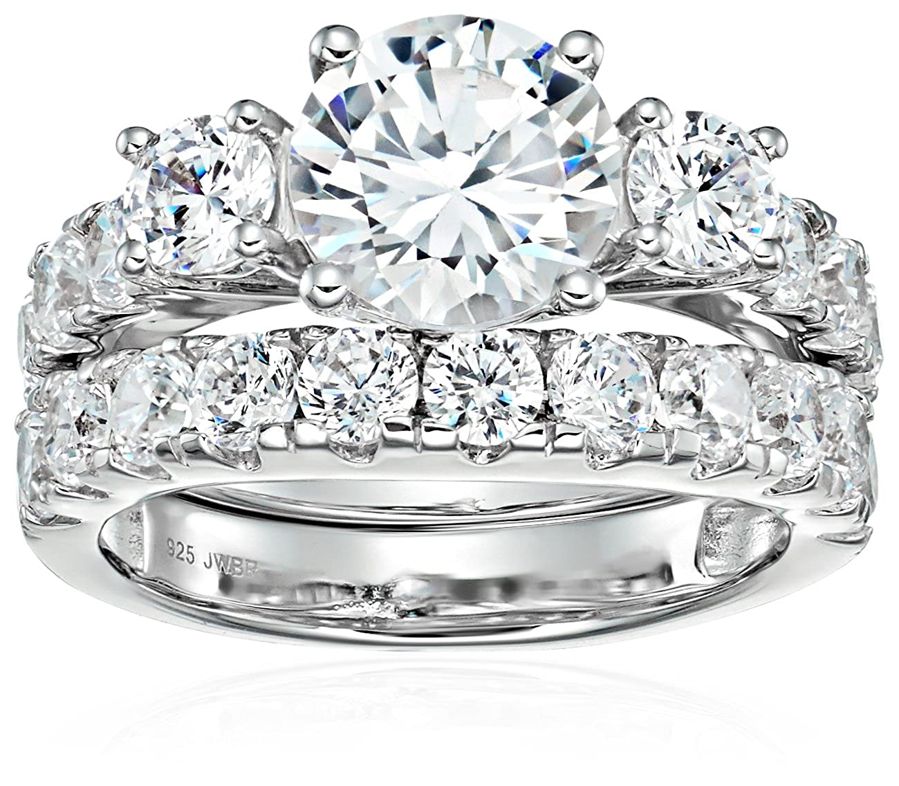 Sterling Silver Cubic Zirconia Round, 3-Stone Bridal Set, Size 6 482321/STGSIL/ZZ/US6