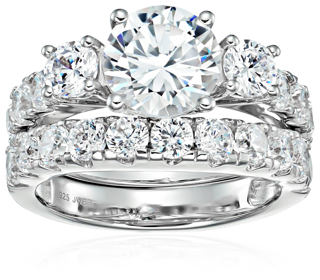 Sterling Silver Cubic Zirconia Round, 3-Stone Bridal Set, Size 7