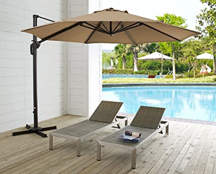Ulax Furniture 11 Ft Patio Umbrella Outdoor Offset Hanging Umbrella With  Cantilever Aluminum, 360°