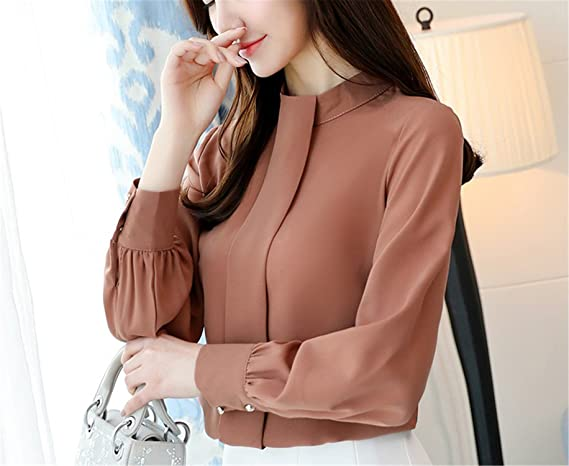 OUXIANGJU New Arriva Spring Womens Shirts Lady Solid Chiffon Long Sleeve Blouse at Amazon Womens Clothing store:
