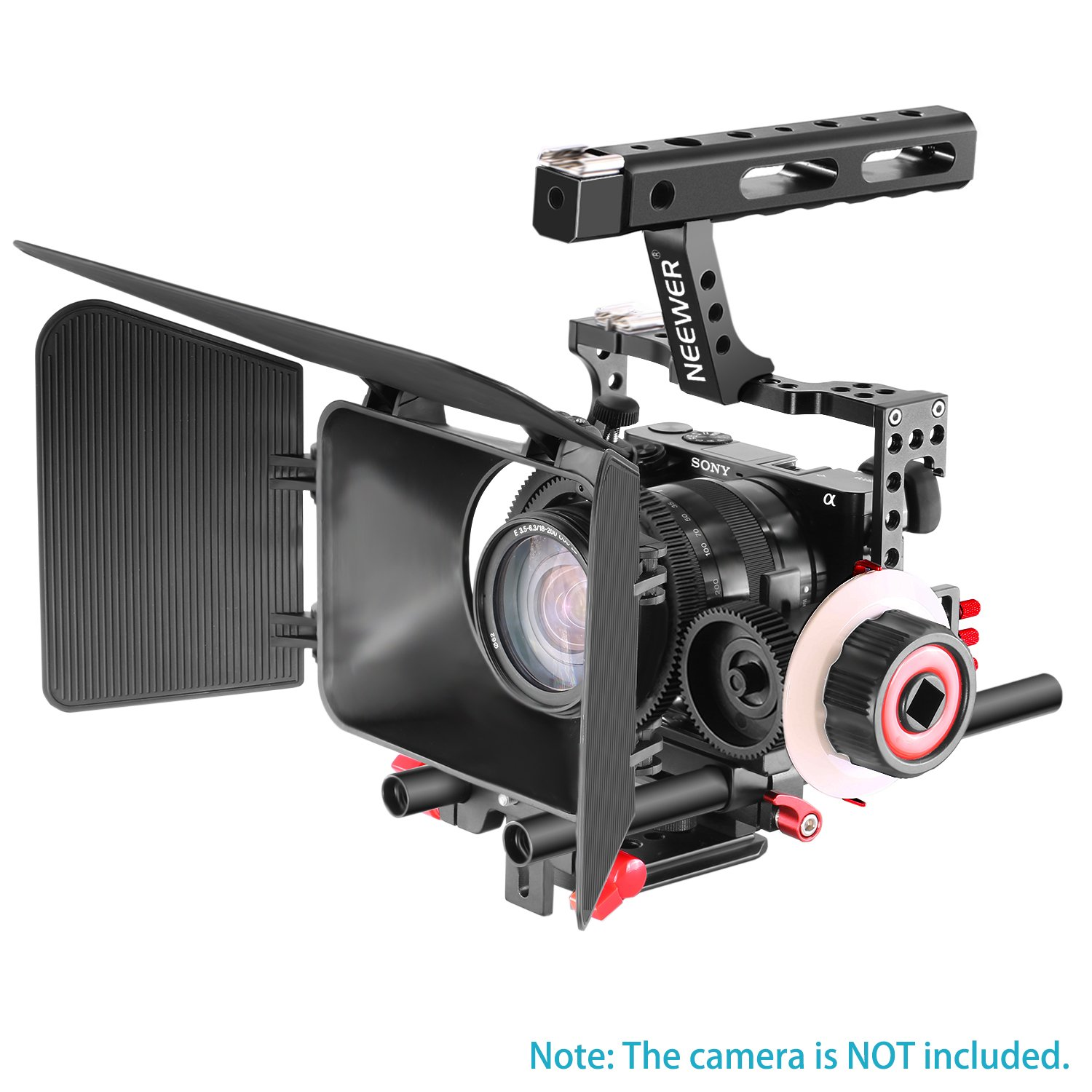 Red+Black Neewer Film Making Camera Video Cage with 15mm Rail Rods Matte Box Follow Focus with Gear Ring Belt for Sony A7 A7S A7SII A7R A7II A6000 A6300 Panasonic GH4 GH3 Cameras