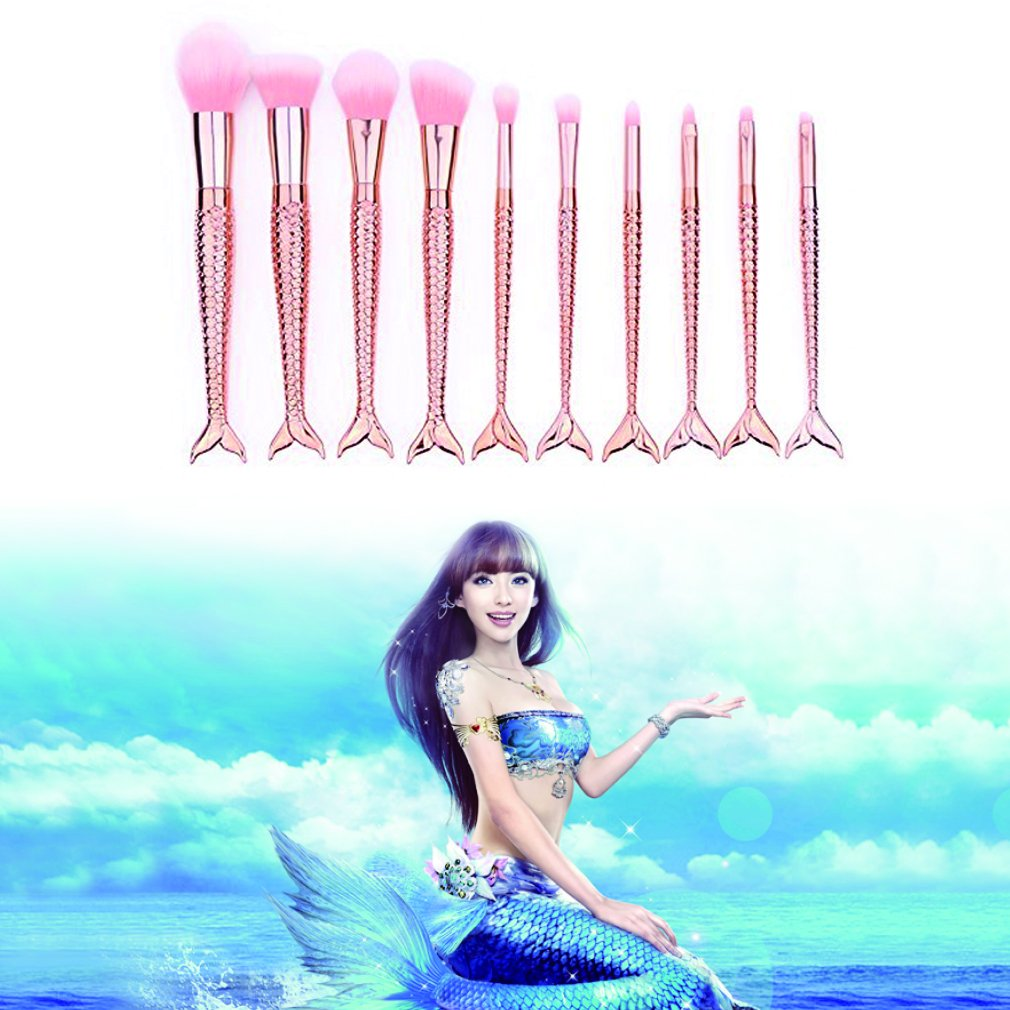 Yoseng Makeup Brush Set Mermaid Beauty Cosmetic Tools Kabuki Professional Fishtail Bottom Blush Foundation Blending Eyeliner Powder Eyeshadow Cream Concealer Eyebrow Brushes 10psc (champagne)