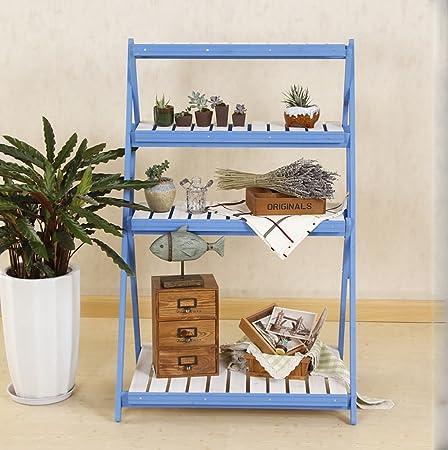 estantes para plantas Soporte plegable de madera de la maceta de 4 niveles Jardinera de jardín