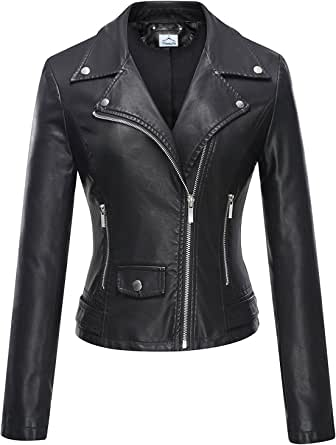 VearFit Speedo Zippy Black Biker Motorcyle Genuine Leather Jacket for Women