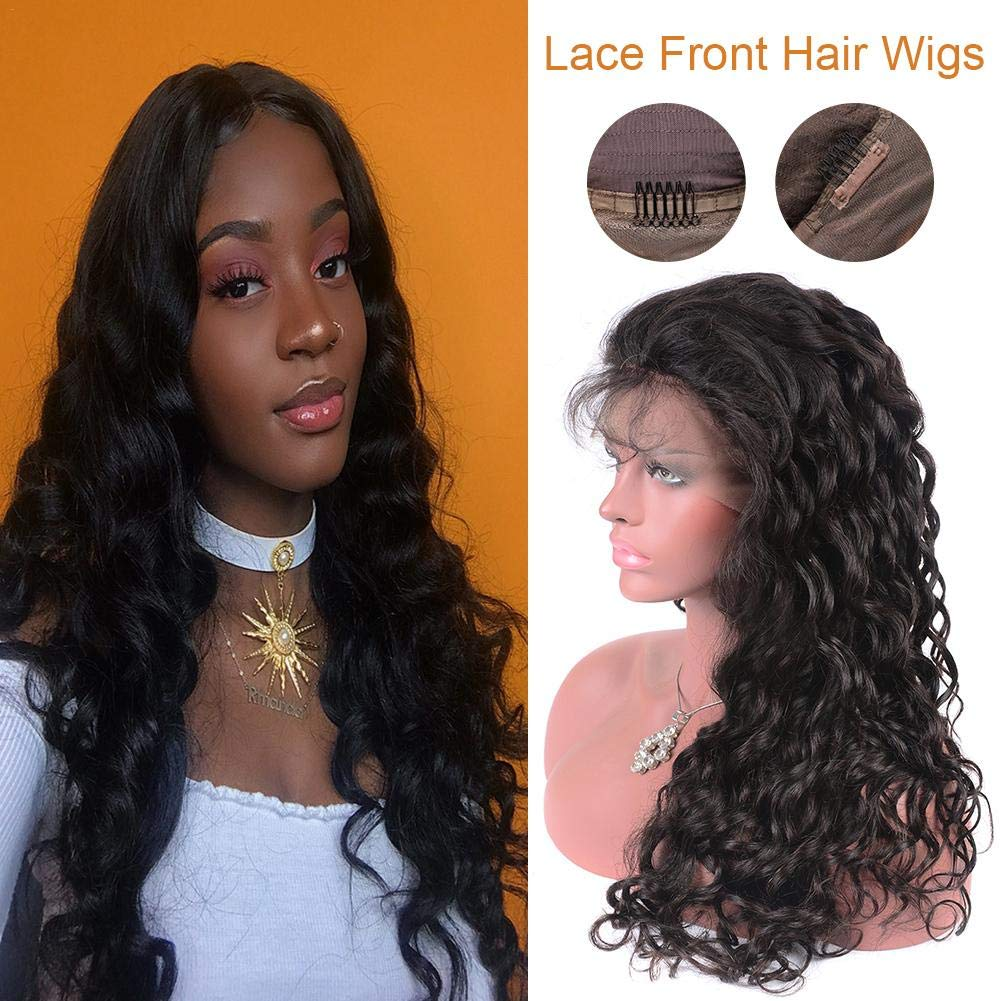 Female Elegant Fashion Long Curly Lace Front Wig Black Wave Synthetic Wig Artificial Human Hair Full Wig Pre Plucked Natural Hairline by Qidel