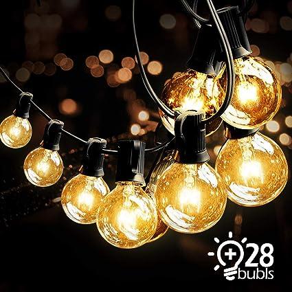 VIFLYKOO Lichterkette Außen,Lichterkette Glühbirnen G40 Wasserdichte Innen und Außen Beleuchtung mit 9.5 Meter 28 Garten Lich