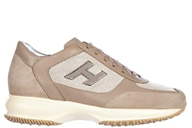 0894fc085da9 Hogan Women s Shoes Leather Trainers Sneakers Interactive h Flock Beige US  Size 9 HXW00N032424G89999