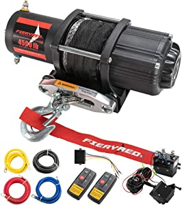 FIERYRED 12V 4500LBS Electric Synthetic Rope ATV Winch Kits for Towing ATV/UTV Off Road Trailer with Wireless Remote Control Mounting Bracket, 1 Year Warranty