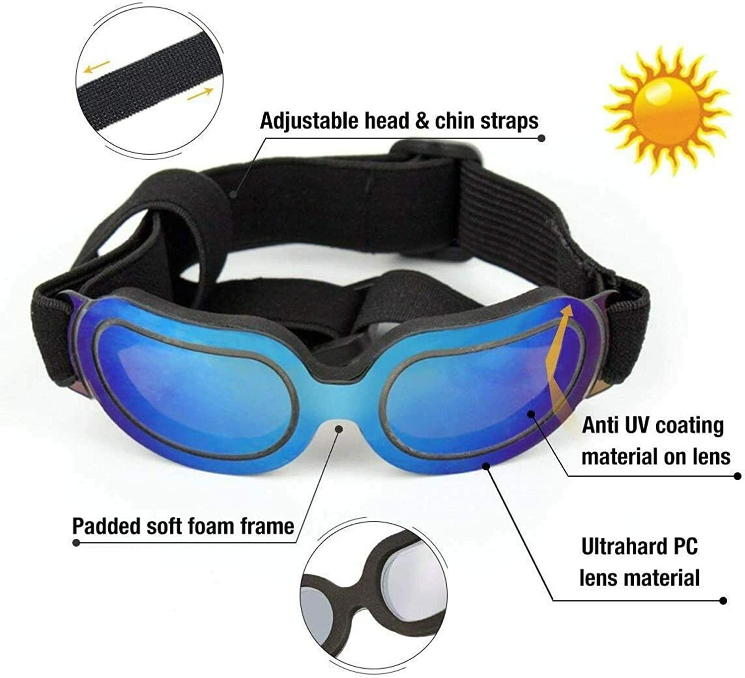 Blue ZGHYBD Small Dog Sunglasses Dog Goggles for UV Protection Sunglasses Windproof,Pet Goggles UV Protection Waterproof Windproof Sunglasses with Adjustable Straps for Doggy Puppy Cats