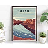 Utah 2, Retro Style Travel Poster, Vintage Rustic Poster Print, Home Office Wall Decoration, Utah 2 State Map Poster - 24*36