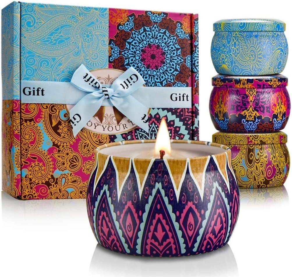 Gifts for Mom Fall Scented Candles Set, Natural Soy Wax Portable Travel Tin Candle,Birthday Gift for Women for Stress Relief and Aromatherapy - 4 Pack