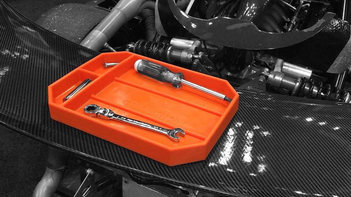 Grypmat | Non-Slip Flexible Orange Tool Tray | Tool Box Organizer | Socket Organizer | Tool Holder | Tool Mats | No Magnets | Easy Clean Up | As Seen On Shark Tank (Medium) by Grypshon (Image #6)