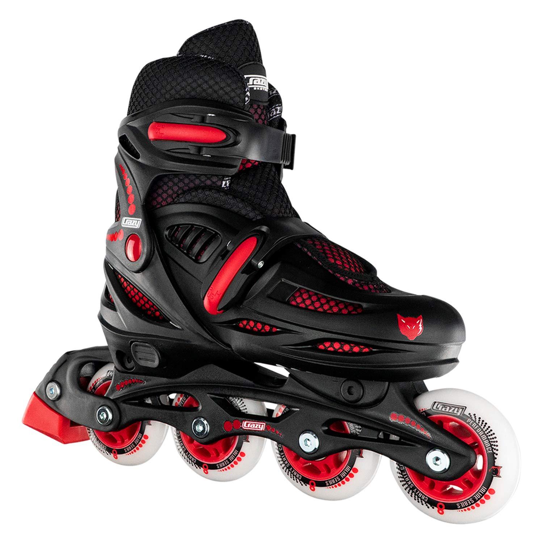 Crazy Skates Adjustable Inline Skates for Boys - Beginner Kids Roller Blades - Black with Red (Large/Sizes 5-8) by Crazy Skates