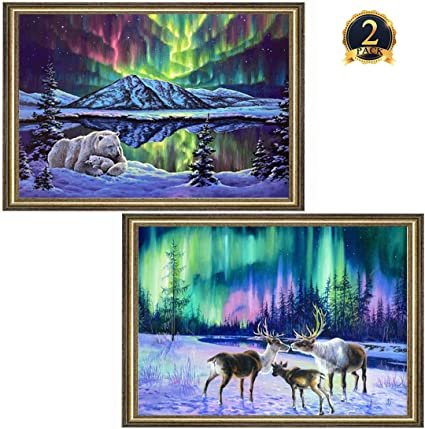 5D DIY Diamond Painting Christmas Elk in the snow Stitch Home Decor DSUK