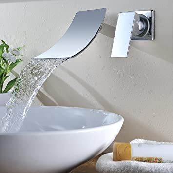 KINSE® Rubinetto lavabo da parete cromato lavandino monocomando ...