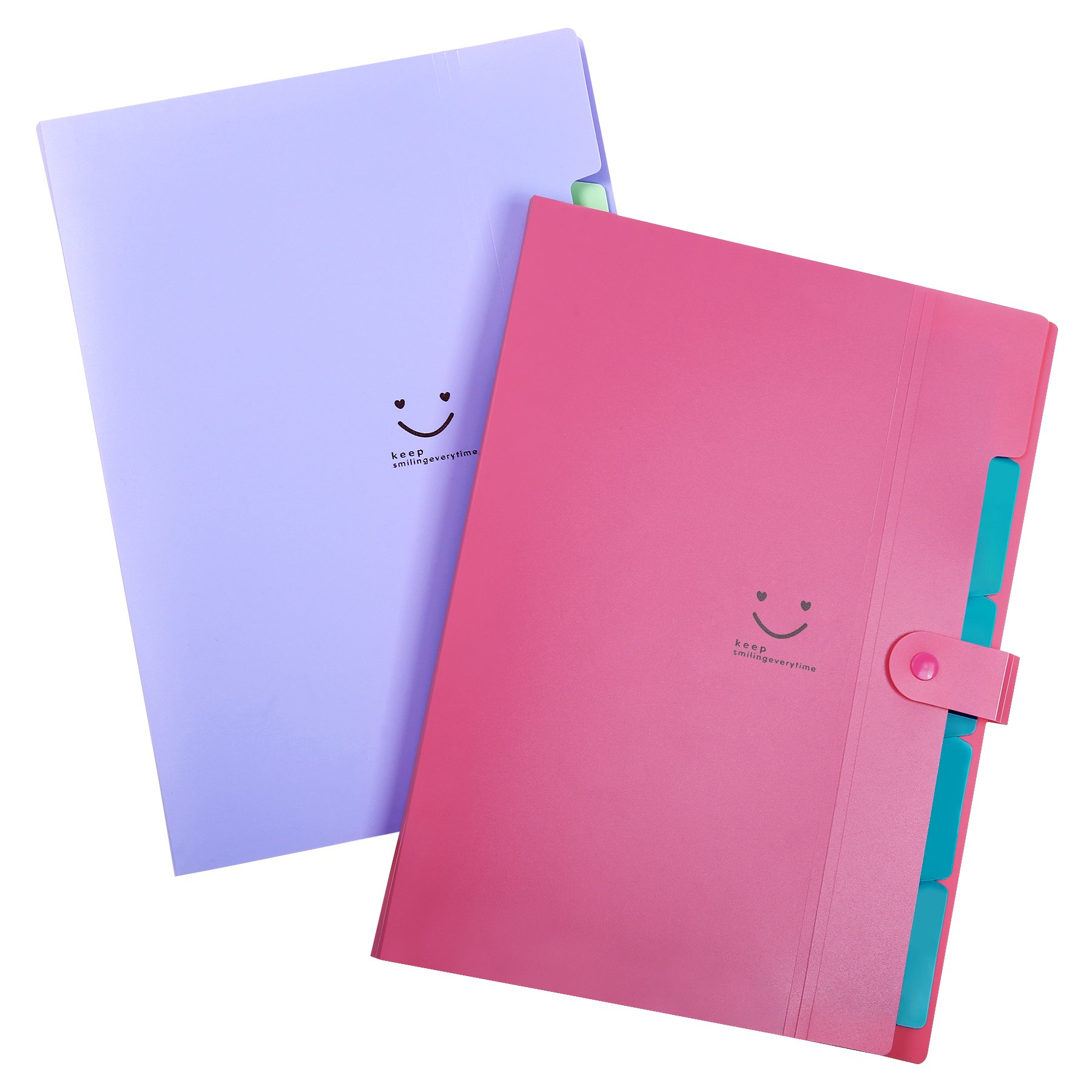 Phyxin Expanding file folder Office organizer document Accordion folder clipboard Letter Size A4 with 5 pockets Plastic Set of 2, Purple Fuchsia