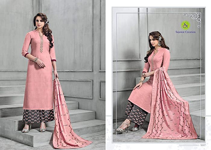 e9adef520a Amazon.com: READY MADE SILK PALAZZO SUIT, INDIAN SUIT FOR PARTY WEAR ...