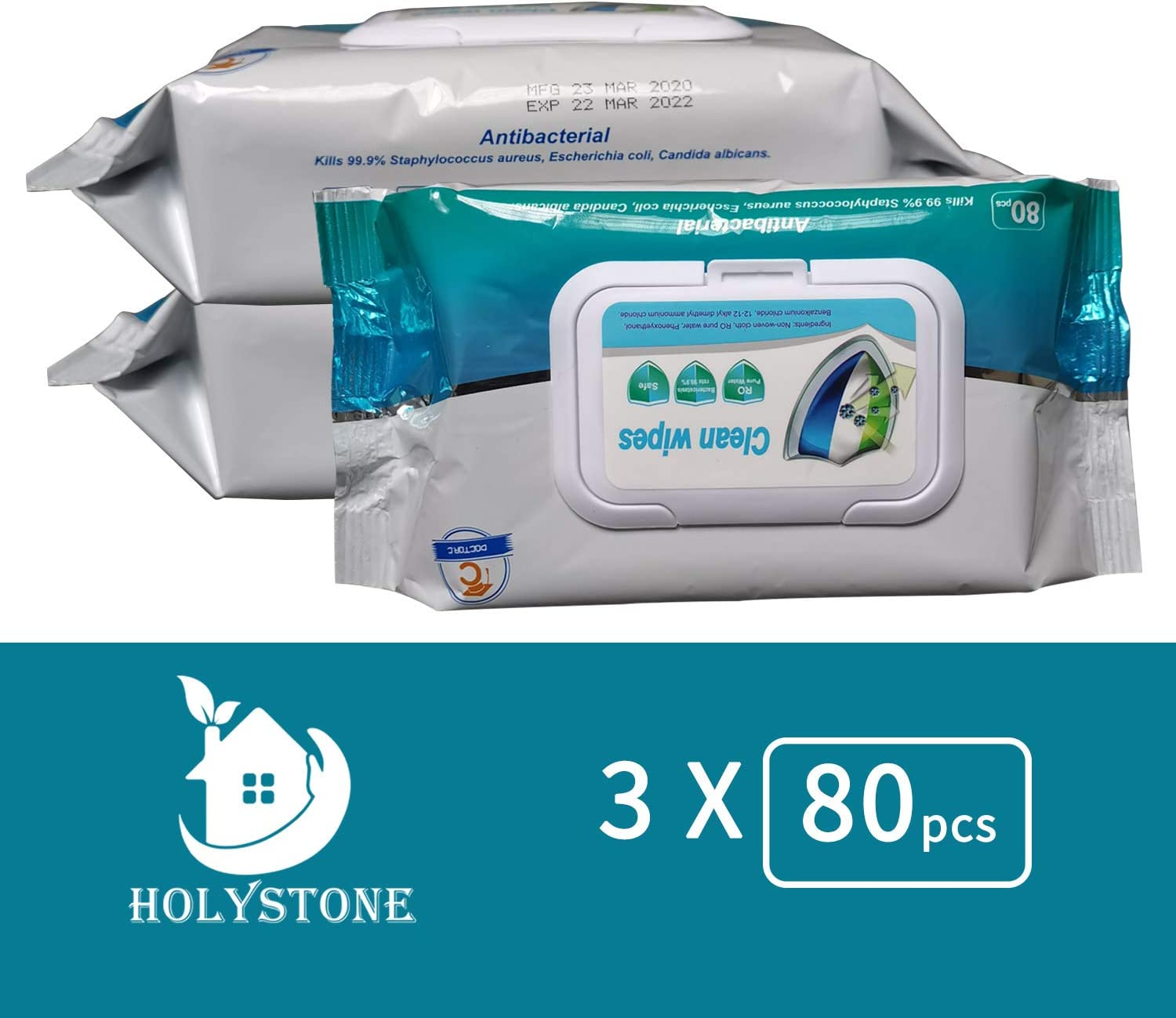 Wet Wipes Suitable for Family All Daily Protection Wet Wipes Household Wipes,3 Packs 240 Wipes Total 80 Wipes per Pack